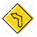 Sharp Left Curve Traffic Signs Icon