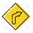 Sharp Right Curve Traffic Signs Icon