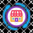 Shop Building Round Icon