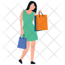 Window Shopping Girl Standing Shopping Girl Icon
