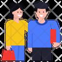 Spouse Shopping Couple Shopping Friends Icon