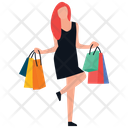 Excited Girl Shopping Excitement Shopping Girl Icon