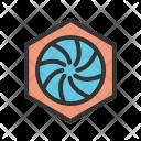 Hexagonal Diaphragm Shutter Icon