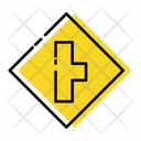 Side Rode Ahead Traffic Signs Icon