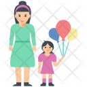 Mother Daughter Love Icon