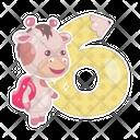 Six Cartoon Number Icon