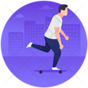 Skateboarding Action Sports Performing Tricks Icon