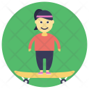 Boy Skateboard Playing Icon