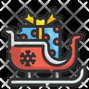 Sleigh Giftbox Transportation Icon