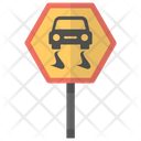 Slippery Road Hazard Icon