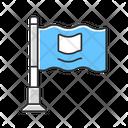 Small Waving Flag On Metal Flagpole Icon
