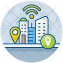 Smart City City Location Architecture Icon