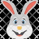 Smiling Bunny White Icon