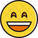 Smiling face with open mouth and smiling eyes Icon