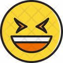 Smiling face with open mouth and tightly closed eyes Icon