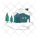 Snow Cabin Snowman Icon