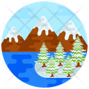 Hill Station Snow Covered Trees Snowy Place Icon
