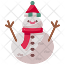 Snowman Snowfall Pine Tree Icon