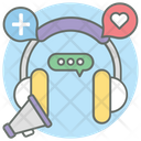 Social Listening Headphones Social Communication Icon