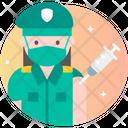Female Soldier Vaccination Icon