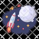 Rocket Moon Galaxy Icon