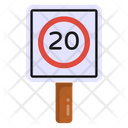 Speed Board Road Post Traffic Board Icon