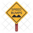 Speed Bumps Road Post Traffic Board Icon