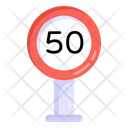 Speed Limit Road Post Traffic Board Icon