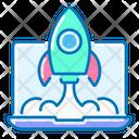 Start Up Rocket Laptop Icon
