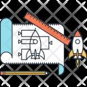 Startup Blueprint Rocket Icon