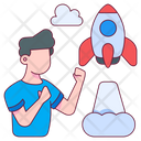 Startup Rocket Space Icon