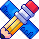 Stationary Pencil Ruler Icon