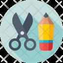 Stationery Scissor Pencil Icon