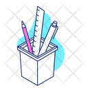 Stationery Tool Bucket Pencil Ruler Icon