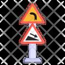 Steep Descent Right Turn Board Traffic Board Icon