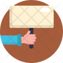 Protest Placard Stick Banner Icon