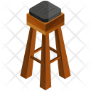 High Wooden Stool Icon