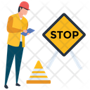 Under Construction Transit Signal Stop Sign Board Icon