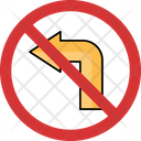 No Left Left Not Allowed Left Prohibition Icon