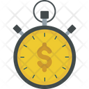 Stopwatch With Dollar Financial Importance Time Is Money Icon