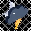 Night Thunder Cloud Thunder Weather Forecast Icon