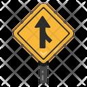 Straight Road Arrow Road Post Traffic Board Icon