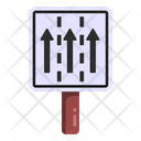 Straight Way Road Post Traffic Board Icon