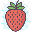 Strawberry Fruit Orange With Leaf Icon