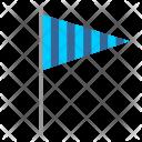 Striped Flag Triangle Icon