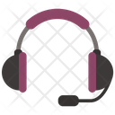 Striped Headphones With Mic Icon