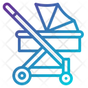 Kid And Baby Push Car Trolley Car Icon