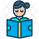 Student Female Student Reading Book Icon