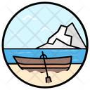 Summer Boat Canoeing Rafting Icon