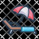 Sunbed Beach Umbrella Icon